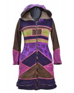 Fialovo-růžový sametový kabátek s kapucí, patchwork a Chakra tisk, pletení