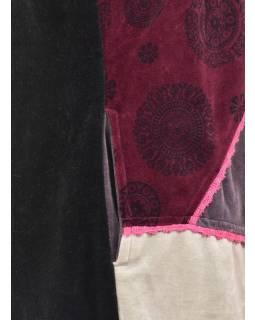 Vínovo-hnědý sametový kabátek s kapucí, patchwork a Chakra tisk, pletení