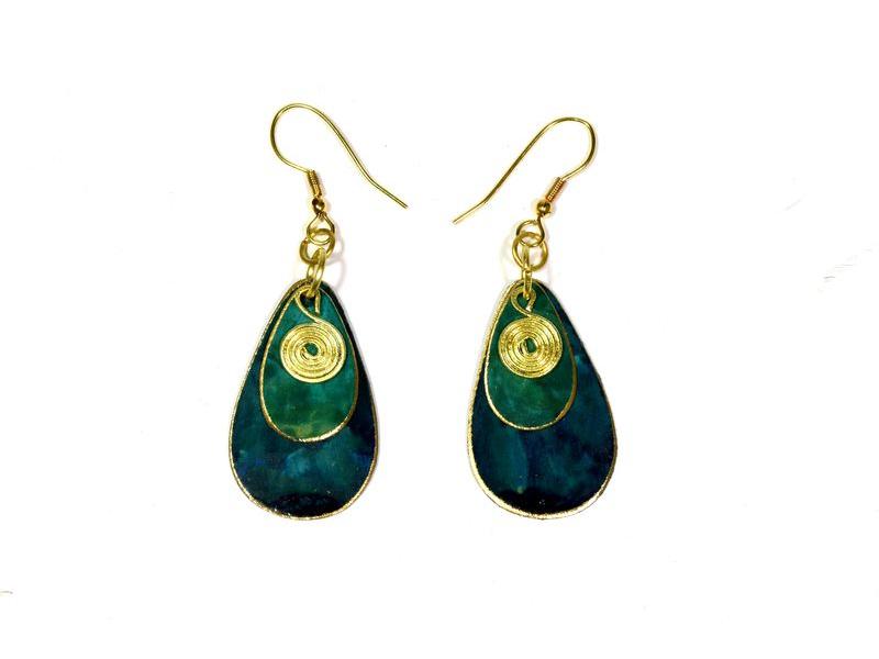 Visací náušnice, modro-zelené ve tvaru slziček, zlatý kov