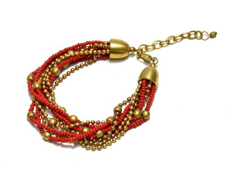 Náramek z korálků, osm řad, červeno-zlatý, zapínání