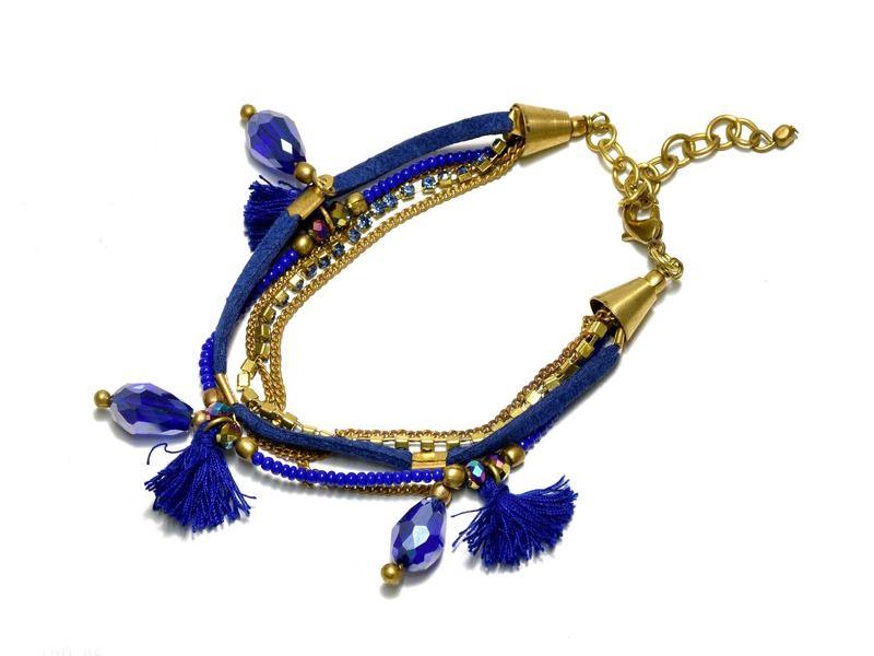 Náramek z korálků, pět řad, modro-zlatý, třásně, zapínání