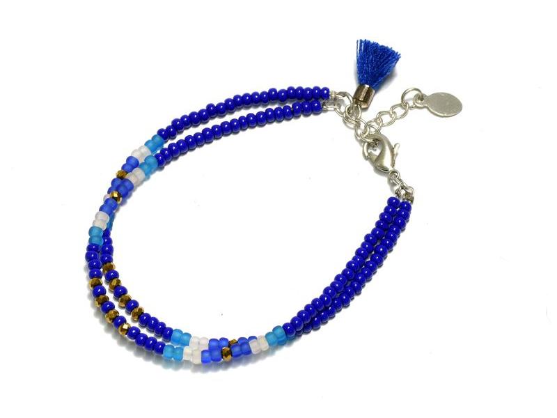 Náramek z korálků, dvě řady korálků, modrý, třáseň zapínání
