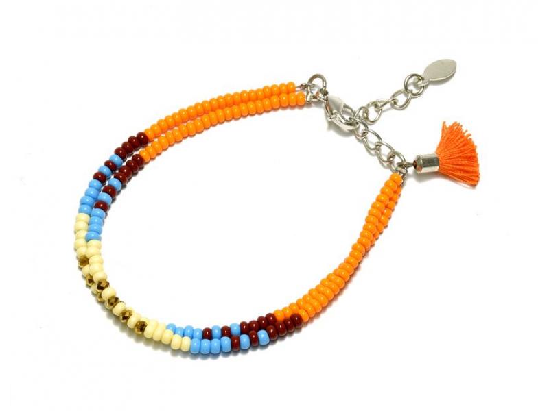Náramek z korálků, dvě řady korálků, oranžový, třáseň zapínání