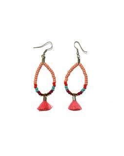 Visací náušnice s meruňkovými korálky a třásničkou, tvar kapky, stříbrný kov