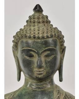 Buddha Šakjamuni, antik zelená patina, mosaz, 35x23x53cm