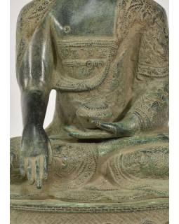 Buddha Akšóbhja, antik zelená patina, mosaz, 53cm