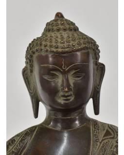 Buddha Akšóbhja, antik zelená patina, mosaz, 37cm