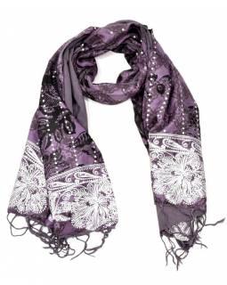 Šátek hedvábí, fialový, černo-stříbrný tisk, prošívání, flitry, třásně, 45x140cm