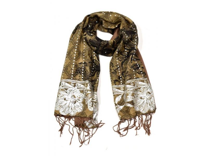 Šátek hedvábí, hnědý, černo-stříbrný tisk, prošívání, flitry, třásně, 45x140cm