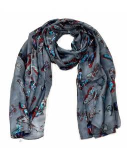 Hedvábný šátek s motivem motýlů, tmavě šedý, 170x100cm