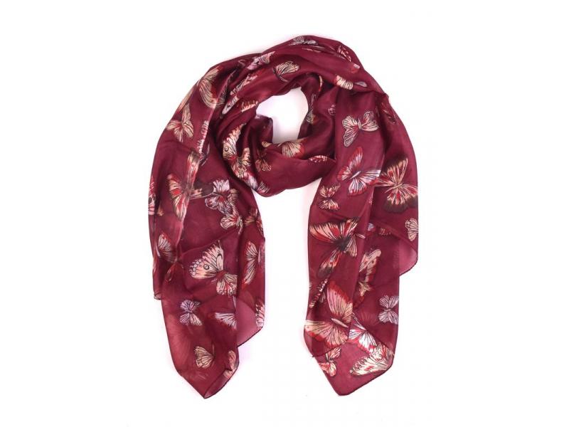Hedvábný šátek s motivem motýlů, vínový, 170x100cm