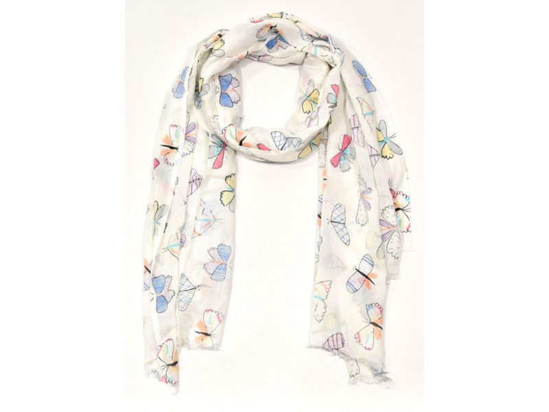 Šátek s motivem motýlů a třásněmi, bílý, 180x75cm