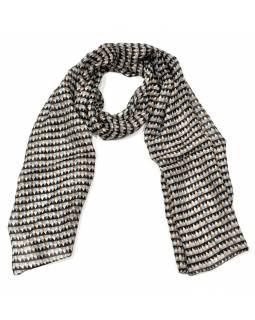 Hedvábný šál s geometrickým motivem, černo-šedý, 180x50cm