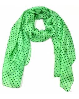 Hedvábný šátek s motivem puntíků, zelený, 170x100cm