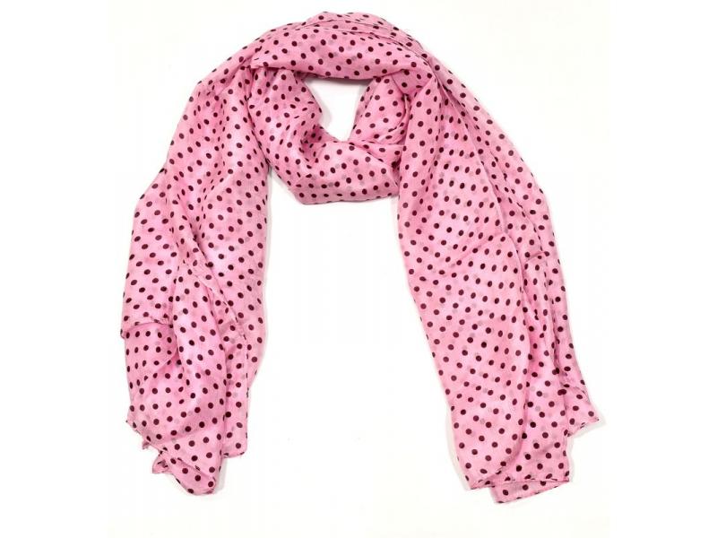 Hedvábný šátek s motivem puntíků, růžový, 170x100cm