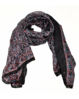 Hedvábný šátek motivem drobných květin, černo-šedivý, 170x100cm
