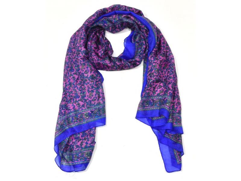 Hedvábný šátek motivem drobných květin, modro-růžový, 170x100cm