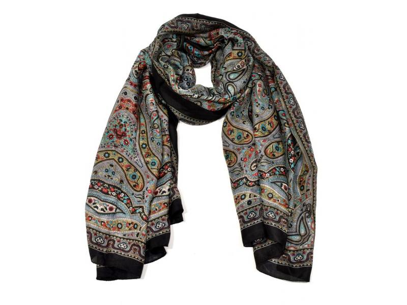 Hedvábný šátek paisley potisk, černo-barevný, 170x100cm