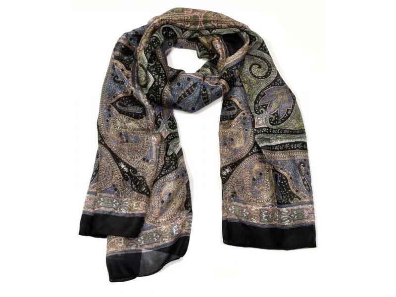 Hedvábný šátek paisley potisk, černo-béžový, 170x100cm