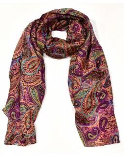 Hedvábný šátek paisley potisk, fialovo-barevný, 170x100cm
