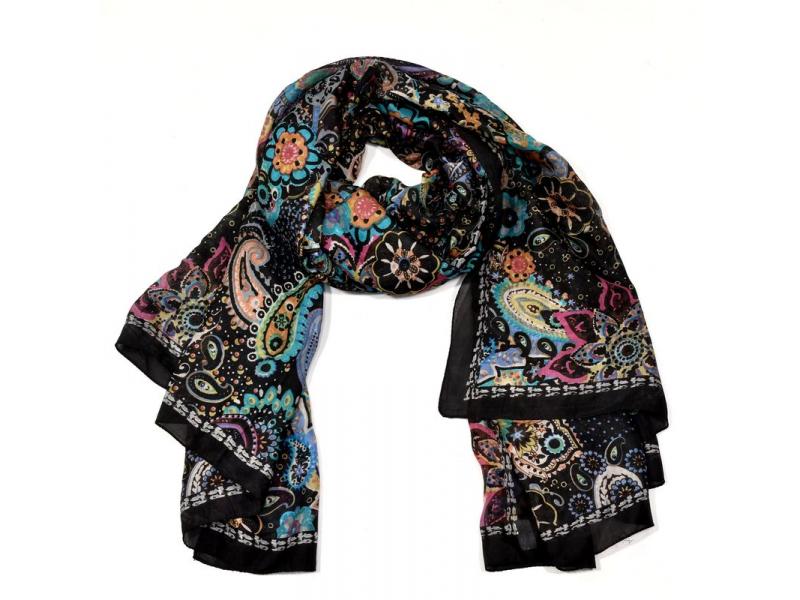 Hedvábný šátek paisley a květiny potisk, černo-barevný, 170x100cm