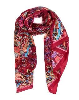 Hedvábný šátek paisley a květiny potisk, vínovo-barevný, 170x100cm