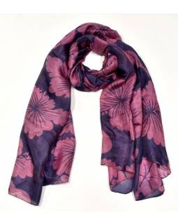 Hedvábný šátek potisk květů, fialovo-růžový, 170x100cm