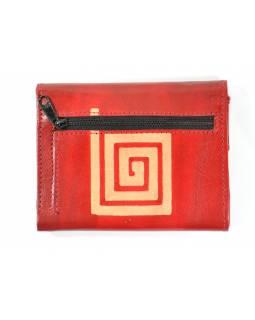 Peněženka, červená, malovaná kůže, hranatá spirála, 10x13cm