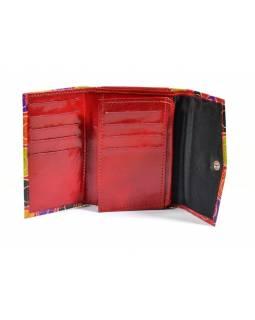 Peněženka, červená, design veselé bubliny, malovaná kůže, 13x9cm