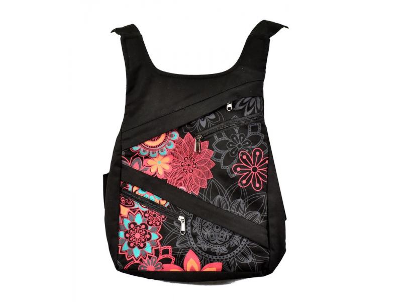 Originální batoh s pěti kapsami, černý s růžovým potiskem, ruční práce, 32x36cm