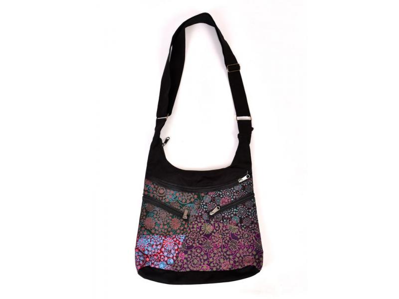 Originální taška přes rameno s pěti kapsami, černá s potiskem, 29x31cm