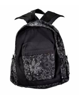 Batoh, černý, potisk květin, bavlna, 34x39cm