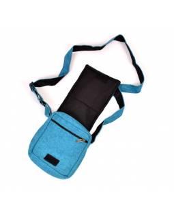 Malá taška přes rameno, modrá, bavlna, 22x20cm, popruh až 60cm