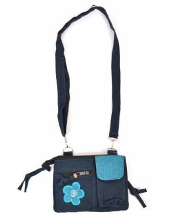 Malá taška přes rameno, modrá, květina, bavlna, 20x15cm, popruh