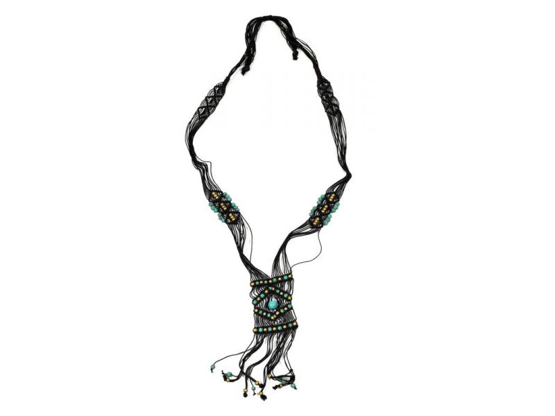 Černý pletený náhrdelník s tyrkysovými a zlatými korálky