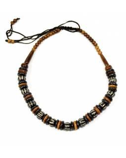 Kostěný náhrdelník, černo-hnědý, na stahovací šňůrce