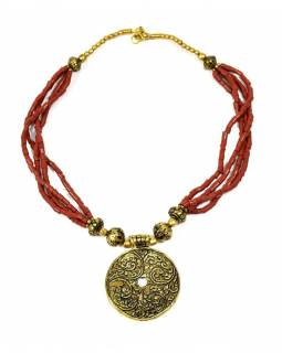 Náhrdelník, červené a zlaté korálky, zlatý přívěšek, zapínání