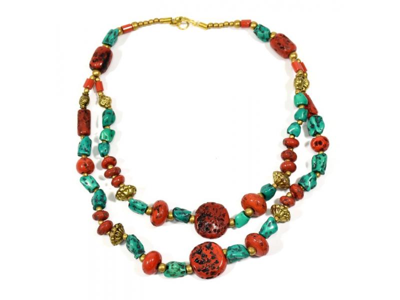 Náhrdelník, imitace korálu a tyrkysu, zlaté korálky, zapínání