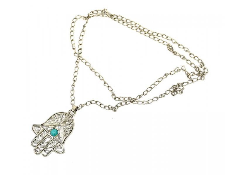 Náhrdelník, přívěšek Fátimina ruka, tyrkysový korálek, stříbrná barva