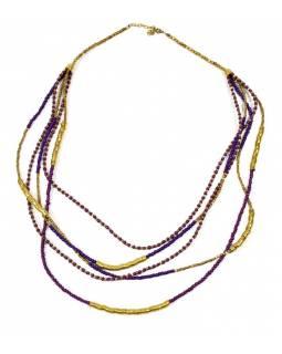 Dlouhý náhrdelník, 5-řadý, fialové, fuchsiové a zlaté korálky, zapínání