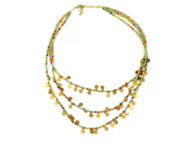 Náhrdelník, 3-řadý, barevné a zlaté korálky, zapínání
