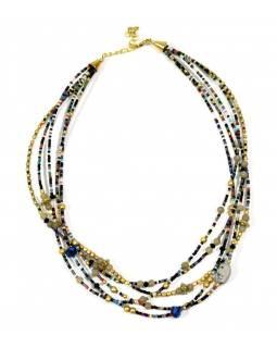 Náhrdelník, 5-řadý, černé, barevné a zlaté korálky, zapínání