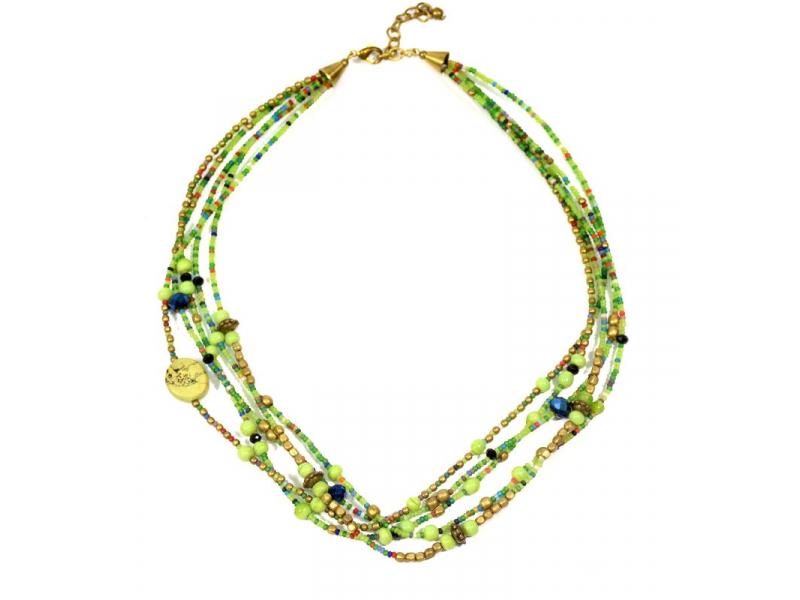 Náhrdelník, 5-řadý, zelené, barevné a zlaté korálky, zapínání