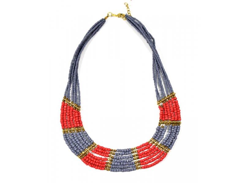 Náhrdelník, 7-řadý, červené, šedivé a zlaté korálky, zapínání