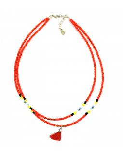 Náhrdelník, 2-řadý, červené a barevné korálky, střapec, zapínání
