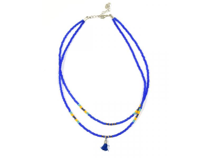 Náhrdelník, 2-řadý, modré a barevné korálky, střapec, zapínání
