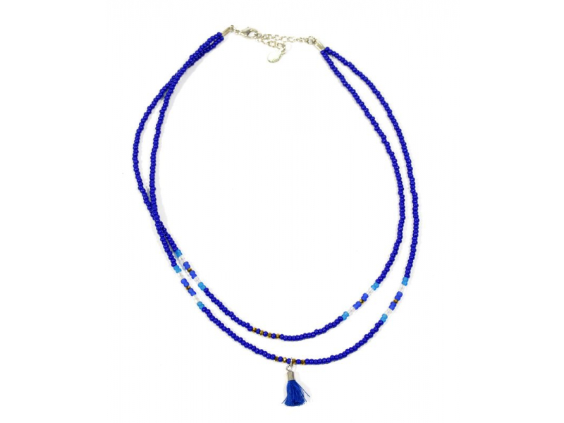 Náhrdelník, 2-řadý, modré a bílé korálky, střapec, zapínání