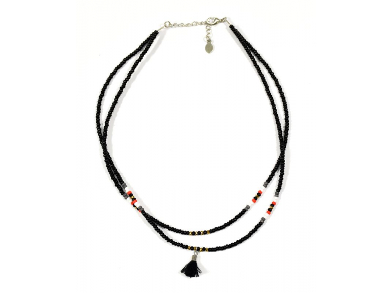 Náhrdelník, 2-řadý, černé a barevné korálky, střapec, zapínání