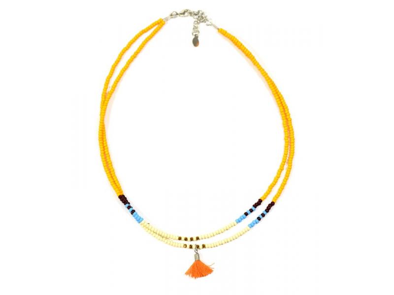 Náhrdelník, 2-řadý, oranžové a barevné korálky, střapec, zapínání