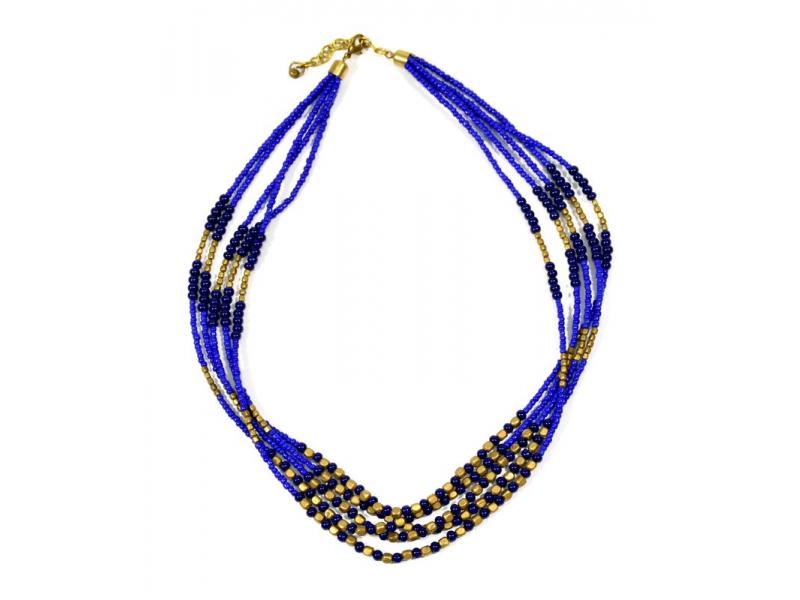 Náhrdelník, 5-řadý, modré a zlaté korálky, zapínání